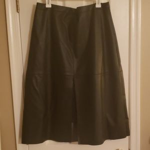 Leather midi skirt with lace inset